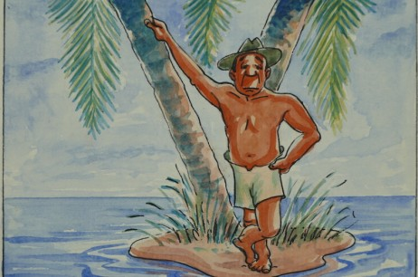 'You'll Never Get Off The Island' – Calendar Illustration – March 1946