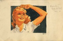 Film Star Lauren Bacall or Ginger Rogers? Painted at Kuantan Hill Position (Dec. 1941)