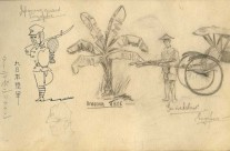 Japanese Guard & Writing; Banana Tree; Rickshaw: Singapore