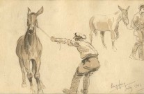 WW1 Sketches Of Man and Donkey, Singapore (July 1942)