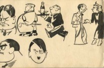 Cartoon Character, Pen & Ink, Including 'Hitler'