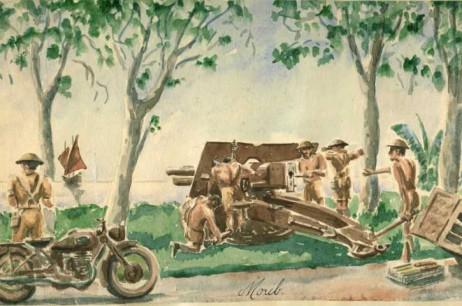 25 Pounder Gun Crew Ready for Action, Morib, Malaya