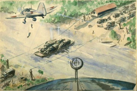 Japanese Planes Attack Kuantan Ferry, Malaya (Dec 1941)