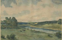 Rural Scene with River: English Countryside