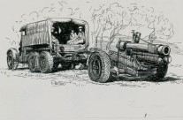 Truck & Gun (France 1940) Pen & Ink sketch