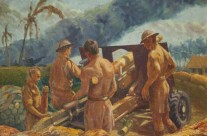 'The Last Gun Position': 25 Pounder Gun, Singapore, F Troop, 464 Battery. (Oil painting donated to Lancaster Museum, UK)