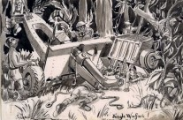 'Jungle Warfare!' Wrecked 25 Pounder (1945)