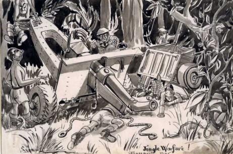 'Jungle Warfare!' Wrecked 25 Pounder (1945)