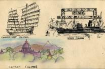 Ceylon, Colombo: Chinese Junk, Ship, Landscape (1941)