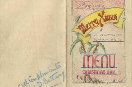'Christmas Greeting Card And Menu' at Serangoon Road, P.O.W Camp, Singapore (Dec 1942)