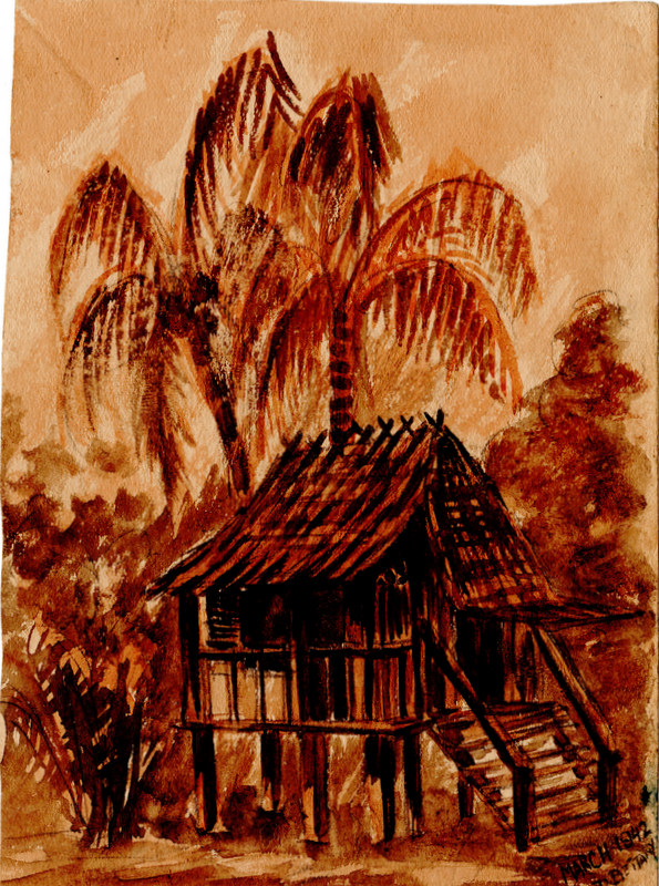 Hut at Pt Dixon, Malaya, (March 1942) given to Lt Jack Fitzgerald