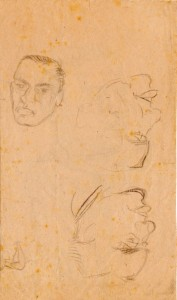 Mad Dogs, rear page, practice sketches, given to Lt J. Fitzgerald