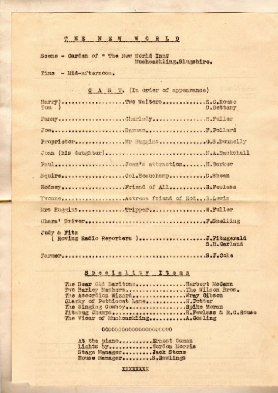 The  New World Cast list (July 1944)