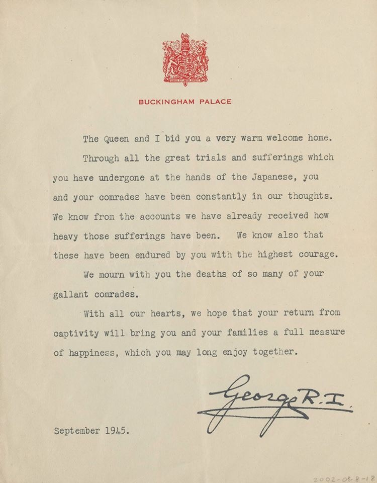Letter King George Sept 1945